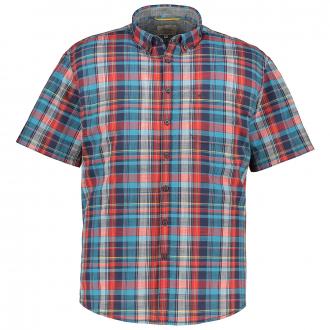Lässiges Freizeithemd mit Karomuster, kurzarm blau/rot_40/4050 | 5XL