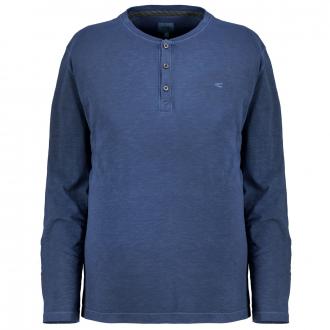 Leichtes T-Shirt mit Henley-Kragen aus Organic Cotton, langarm dunkelblau_44 | 3XL