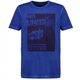 T-Shirt mit Print und Garment Dye-Färbung royalblau_90 | 3XL