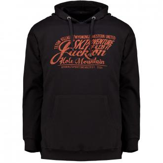 Kapuzen-Sweatshirt mit Frontprint schwarz_77 | 3XL