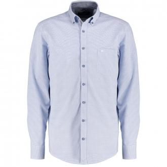 Freizeithemd in dezentem Minikaro, langarm hellblau/weiß_100/4220 | 3XL