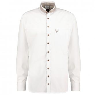 Schickes Trachtenhemd mit modernem Stehkragen langarm weiß_01   3XL