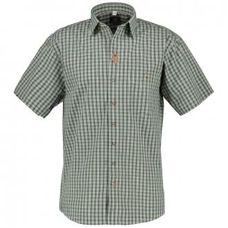 Kariertes Trachtenhemd kurzarm oliv_55 | 3XL