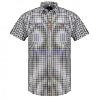 Zünftiges Trachtenhemd mit auffälligen Applikationen, kurzarm hellblau/weiß_69 | 3XL