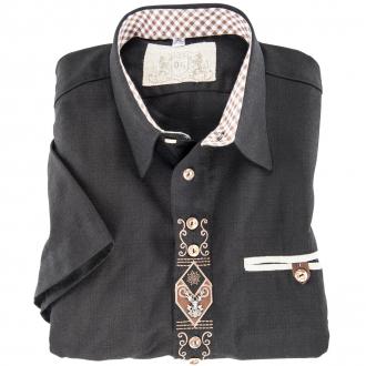 Modisches Trachtenhemd mit Stickerei kurzarm schwarz_70 | 3XL