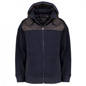 Wärmende Strickfleece-Jacke im Materialmix mit Kapuze marine_5978   3XL