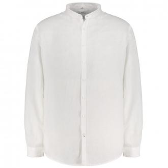 Leinenhemd mit Stehkragen, langarm weiß_99 | 4XL