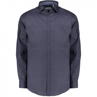 Langarmhemd mit dezentem Alloverprint dunkelblau_22 | 3XL