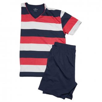 Bequemer Schlafanzug im Streifendesign, kurz dunkelblau_0632 | 76/78