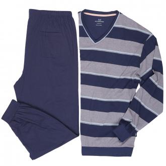 Baumwoll-Schlafanzug mit V-Ausschnitt, lang dunkelblau_632 | 60/62
