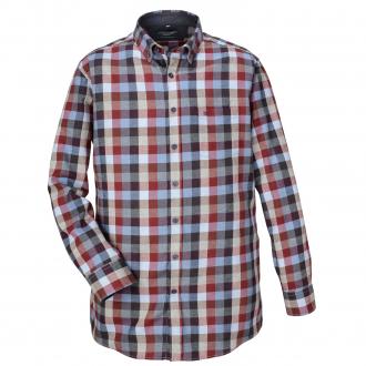 Karriertes Flanellhemd mit langem Arm rot_400 | 6XL