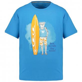 T-Shirt mit auffälligem Brustprint blau_074   5XL