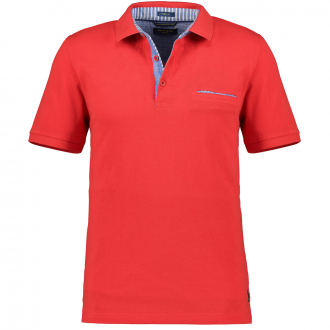 Pique-Poloshirt mit Kontrastdetails, kurzarm rot_5080 | 3XL