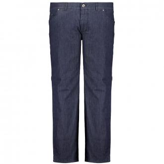 Thermo-Stoffhose in Jeans-Optik im 5-Pocket-Stil, mit Elasthan und Tiefbund dunkelblau_23 | 60