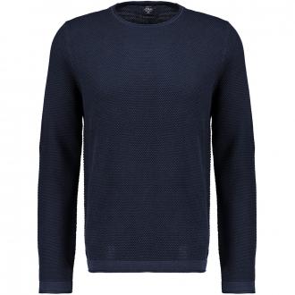 Leichter Baumwoll-Pullover aus Strukturstrick mit Rundhals-Ausschnitt marine_5978 | 3XL