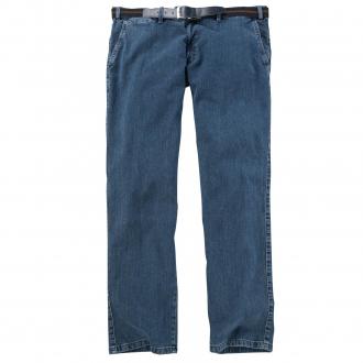 Jeans mit bequemen Seitentaschen und Gürtel blau_161 | 28