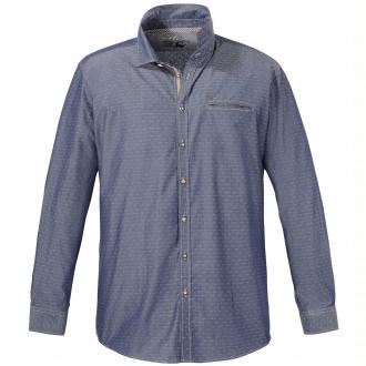 Baumwoll-Trachtenhemd mit Allover-Print, langarm dunkelblau_130/1 | XXL