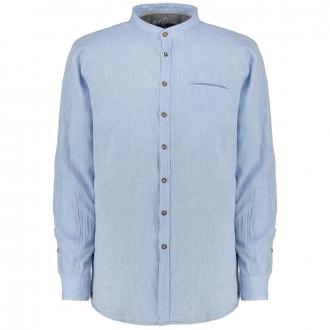 Schlichtes Trachtenhemd mit Stehkragen, langarm hellblau_109 | 3XL