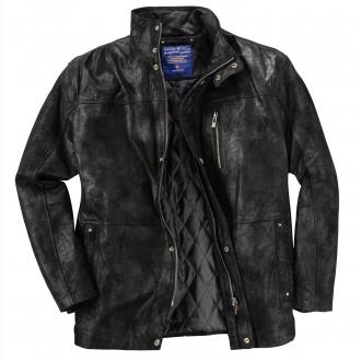 Außergewöhnliche Lederjacke mit trendigen Effekten schwarz_SCHWARZ | 35