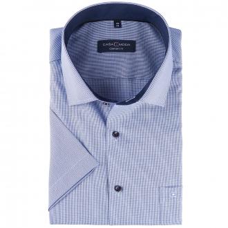 Strukturiertes Businesshemd, bügelfrei, kurzarm blau_101/40 | 46