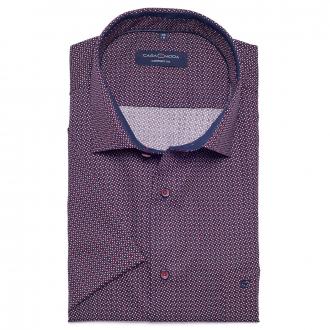 Cityhemd mit Alloverprint und kurzem Arm blau/weiß_100/4020 | XXL