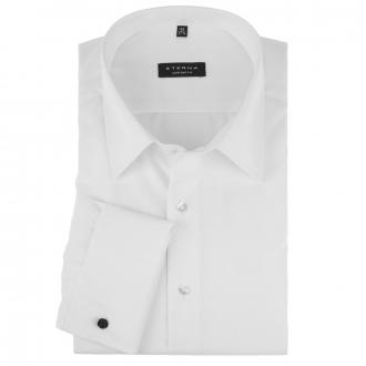 Elegant-unkompliziertes Hemd aus feinem Twill mit Umschlagmanschette, blickdicht weiß_00 | 45