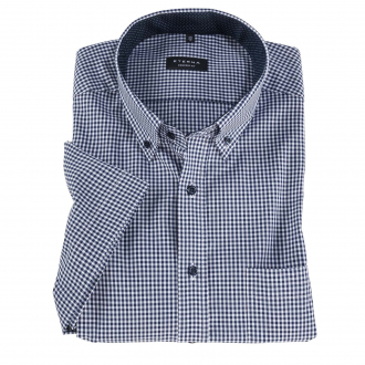 Businesshemd mit Vichykaros, kurzarm blau/weiß_16 | 46
