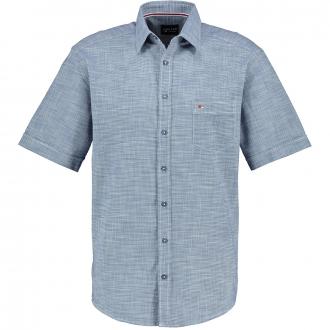 Strukturiertes Freizeithemd kurzarm blau/dunkelblau_120 | 7XL