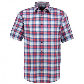 Freizeithemd mit großen Karo´s, kurzarm rot/weiß_356/5020 | 7XL
