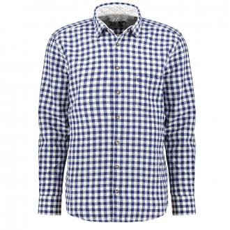 Trachtenhemd aus Leinen, langarm blau/weiß_156/4020 | 3XL