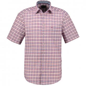 Kariertes Freizeithemd, kurzarm blau/rot_364/4050 | 3XL