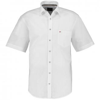 Leichtes Kurzarmhemd mit Leinen-Anteil weiß_900 | 3XL