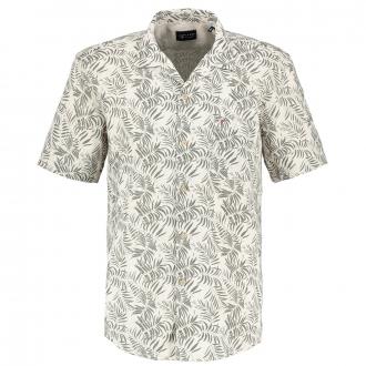 Leinenhemd  mit Blätterprint, kurzarm beige_273   3XL