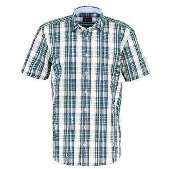 Freizeithemd im Seersuckerstyle, kurzarm blau/grün_453   4XL