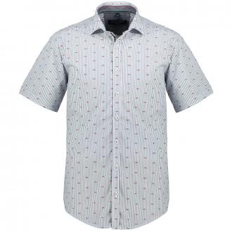 Gestreiftes Baumwollhemd, kurzarm blau/weiß_100/4020 | 3XL