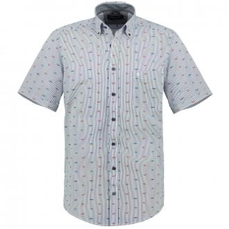 Gestreiftes Baumwollhemd mit Allover-Print, kurzarm blau/weiß_400/4020   3XL