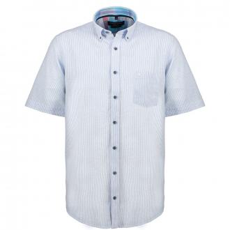 Zeitloses Freizeithemd mit dezenten Streifenmuster, kurzarm blau/weiß_100/4020   3XL