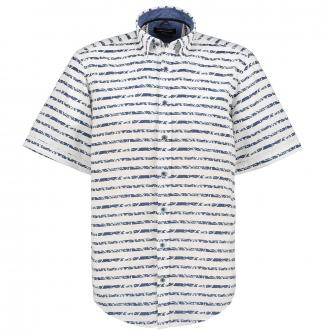 Lässig, maritimes Freizeithemd, kurzarm blau/weiß_100/4020 | XXL