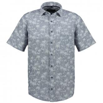 Gestreiftes Freizeithemd mit Palmen Allover-Print, kurzarm blau/weiß_100/4020   XXL