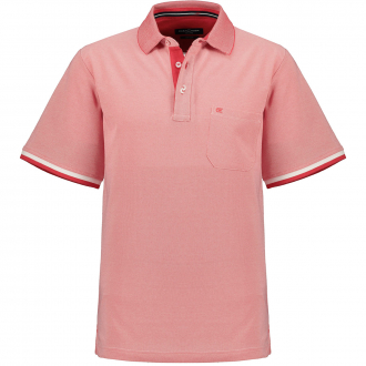 Poloshirt in melierter Optik, kurzarm rot_429 | 3XL