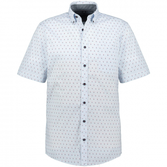 Gestreiftes Kurzarmhemd mit Alloverprint blau_100 | 3XL