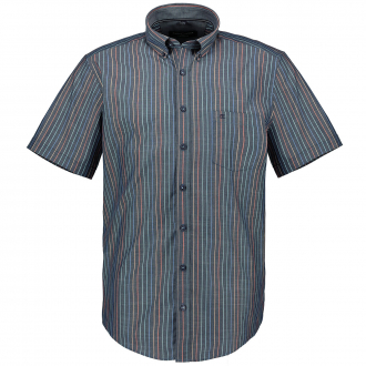 Gestreiftes Kurzarmhemd mit Button-Down-Kragen blau_100 | 6XL