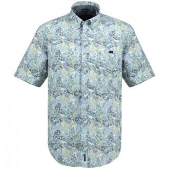 Freizeithemd mit floralem Mustermix, kurzarm grün_300 | XXL