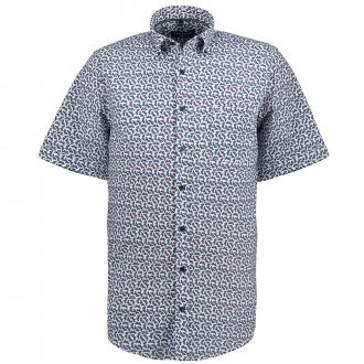Freizeithemd mit abstraktem Print, kurzarm blau/weiß_100/4020   XXL