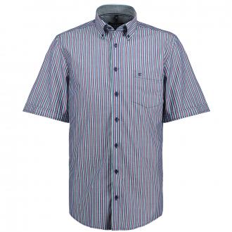 Freizeithemd mit modernen Streifenmuster, kurzarm blau/türkis_100/4050 | XXL