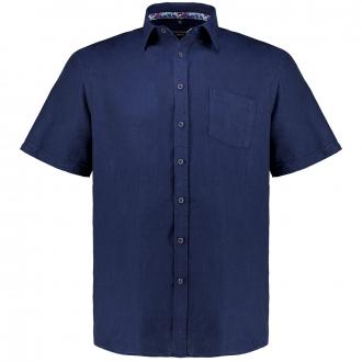 Feines Leinenhemd, kurzarm dunkelblau_104/400 | XXL