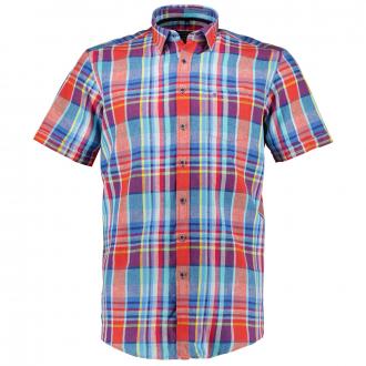 Kariertes Freizeithemd aus leichtem Baumwoll/Leinenmix,  kurzarm blau/rot_400/4050 | XXL