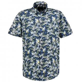 Freizeithemd im Hawaii-Stil, kurzarm blau_100   XXL