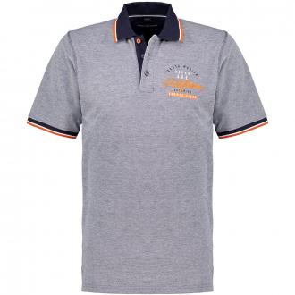Poloshirt mit Stick- und Kontrastelementen, kurzarm dunkelblau_147 | 3XL