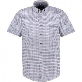 Freizeithemd mit Allover-Print, kurzarm blau/weiß_100/4020   XXL